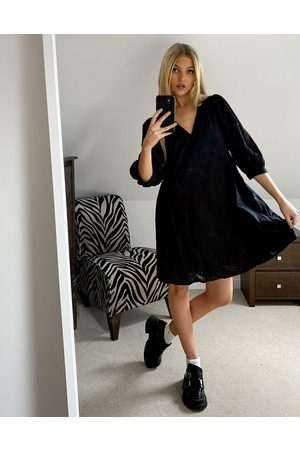 Object Eleni volume sleeve smock dress in black