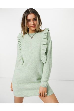 JDY Knitted mini dress with ruffle detail in green