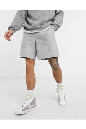 ASOS Co-ord oversized polar fleece shorts in grey marl-Blue