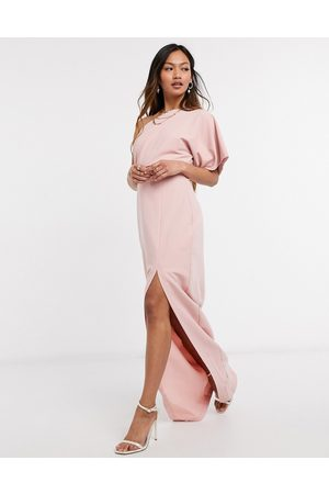 Vesper On shoulder maxi dress with cut-out detail and side split in pink