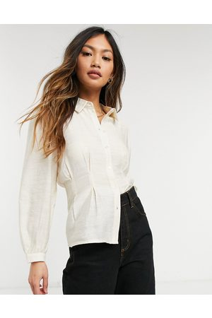 Vero Moda Silky blouse with cinched waist in cream