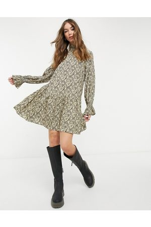 & OTHER STORIES Super soft floral print mini dress in yellow-Multi