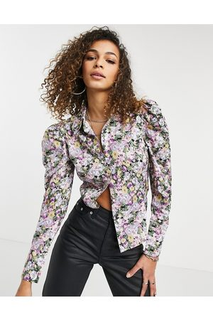 Only Shirt with puff sleeves in floral print-Multi