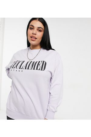 Reclaimed Vintage Inspired plus sweat in lilac with logo print-Purple
