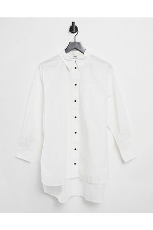 Only Oversized longline shirt in white