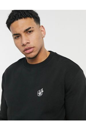 New Look Sweat with rose embroidery in black