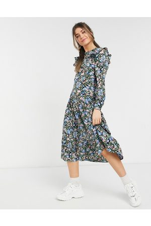 Urban Bliss Fitted ruffle midi dress in ditsy floral-Black