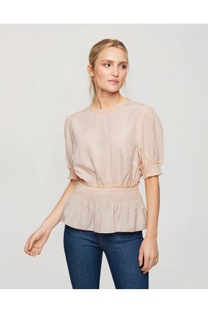 Miss Selfridge Blouse with shirred waist in blush-Pink