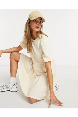 Only Puff sleeve smock dress in cream