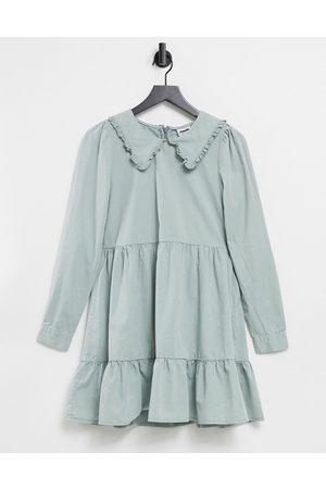Noisy May Tiered smock dress with prairie collar in slate grey