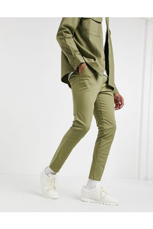 ASOS Skinny chinos with elastic waist in light green
