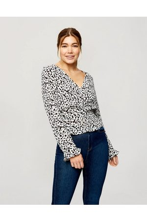 Miss Selfridge Blouse with ruched sleeves in white dalmation print