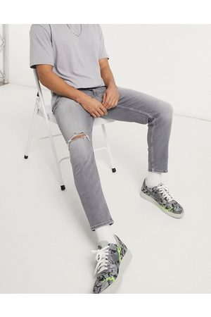 River Island Tapered jeans with rips in grey