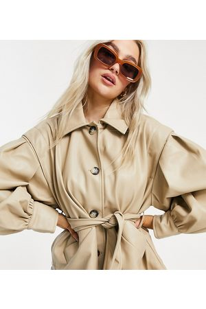 ASOS ASOS DESIGN Petite faux leather jacket with sleeve drama in putty-White