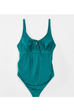 Wolf & Whistle Kadın Mayolar - Maternity Exclusive swimsuit with tie detail in green