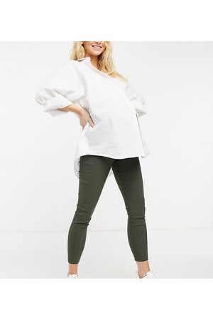 ASOS ASOS DESIGN Maternity over the bump high waist trousers in skinny fit in khaki-Green