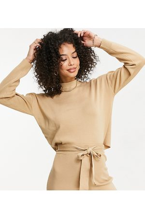 Missguided Kadın Kazaklar - Missguided co-ord Tall cropped jumper with funnel neck in brown