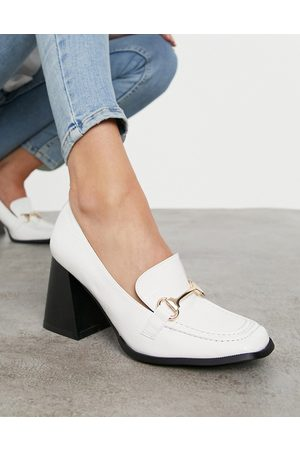 Raid Oregon heeled loafers in white patent croc