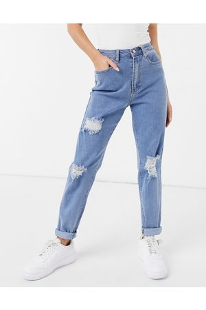 Missguided Mom jean with rips in blue
