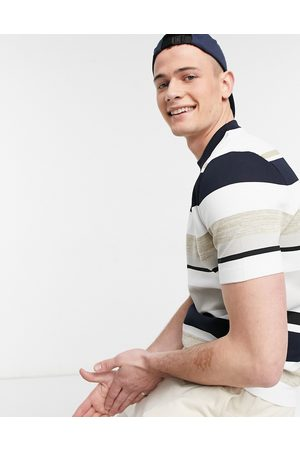 River Island Striped t-shirt in stone & navy