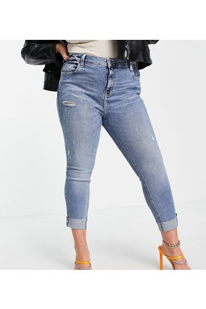 River Island Amelie mid rise ripped jeans in medium blue