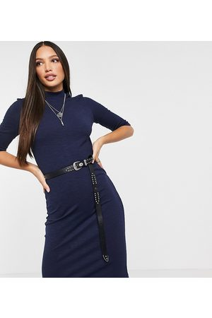 Only Kadın Midi Elbiseler - Midi dress with high neck and 3/4 length sleeves in blue