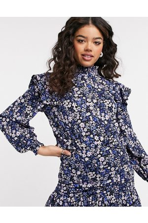 Only Co-ord blouse with frill detail and high neck in purple and blue floral print-Multi