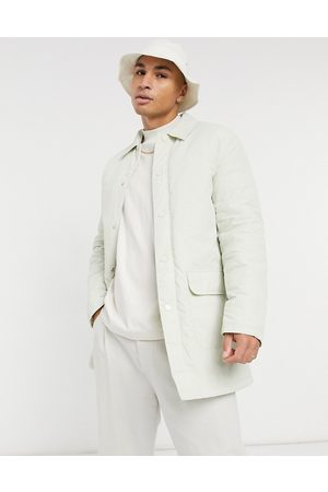 ASOS Erkek Trençkotlar - Padded trench coat with quilted lining in stone-Beige