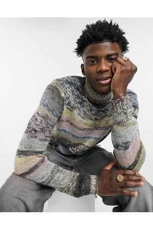 ASOS Knitted turtle neck jumper in space dye yarn-Multi