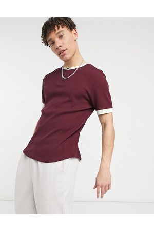 ASOS Waffle grandad t-shirt with contrast ringer in burgundy-Red
