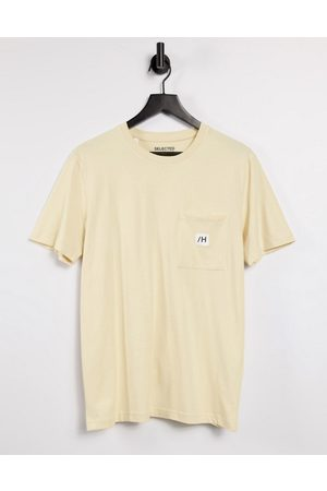 Selected T-shirt with logo pocket in beige