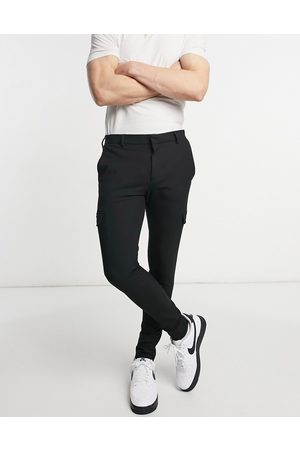 ASOS Smart extreme super skinny trousers with cargo pockets in black