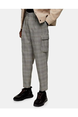 Topman Check cargo tapered trousers in grey-Multi