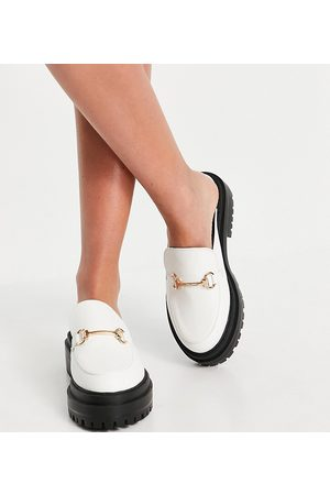 Raid Wide Fit Sadie chunky backless loafers in white
