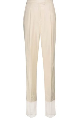 Low Classic High-rise straight wool-blend pants