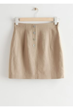 & OTHER STORIES Fitted Buttoned Mini Skirt - Beige