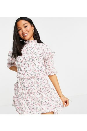 Influence Influence Petite mini dress in white floral print