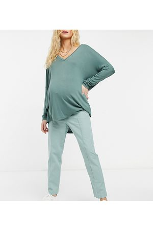 ASOS ASOS DESIGN Maternity linen cigarette trouser in green