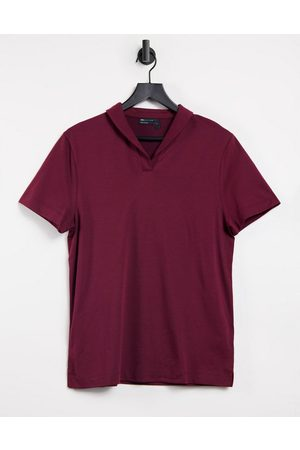 ASOS Smart polo with revere collar in burgundy-Red