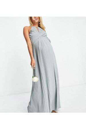 TFNC Bridesmaid pleated wrap detail max dress in sage-Green