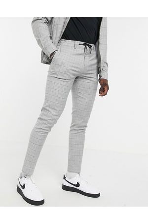 ASOS Co-ord smart skinny trousers with draw cord waist in grid check grey marl-Brown