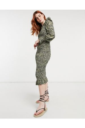 Outrageous Fortune Plisse midi dress in animal print-Multi
