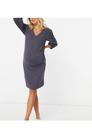 Mama Licious Mamalicious puff sleeve dress in stripe-Grey