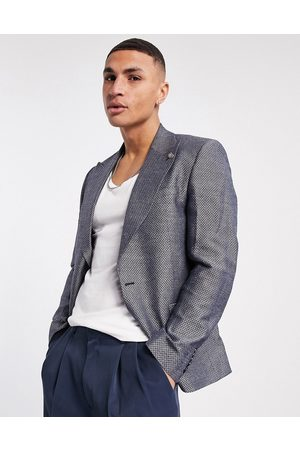Twisted Tailor Suit jacket with micro geo jaquard in blue and white
