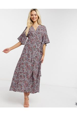 Liquorish Wrap midi dress in pink floral print