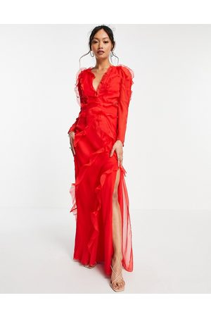 ASOS Tiered ruffle maxi dress with open back in red