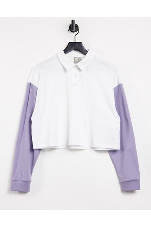 ASOS Boxy polo t-shirt in colour block in white and lilac