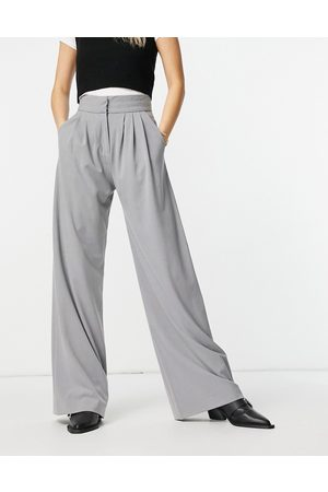 French Connection Ikari wide leg trouser in grey co ord