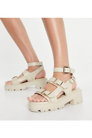 Raid Wide Fit Prestone chunky heeled sandals in stone drench-Neutral