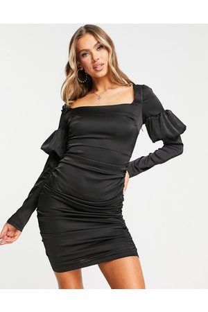 NaaNaa Square neck satin bodycon dress in black
